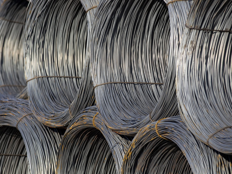 Close-up of cable wire rolls kept together